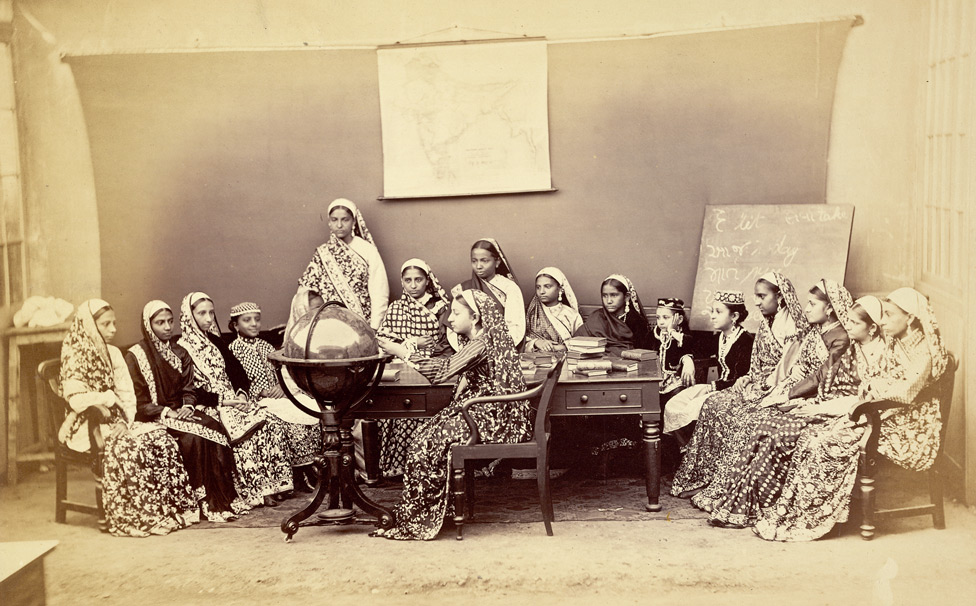 Class in the Alexandra Native Girls' Institution, Bombay